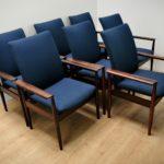 Komplet siedmiu krzeseł, model Diplomat, proj. Finn Juhl, France & Søn, Dania, lata 60.