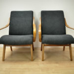 Czech Black Armchairs, 1960s, Set of 2