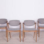 Komplet czterech krzeseł, proj. K. Kristiansen, Schou Andersen, Dania, lata 60