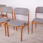 Komplet czterech krzeseł, proj. E. Buch, Oddense Maskinsnedkeri AS, Dania, lata 60.