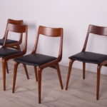 Komplet czterech krzeseł Bumerang, proj. A. Christensen, Slagelse Møbelværk, Dania, lata 50.