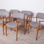 Komplet sześciu krzeseł, proj. E. Buch, Odense Maskinsnedkeri, Dania, lata 60.