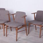 Komplet czterech krzeseł, proj. H. Olsen, Dania, lata 50.