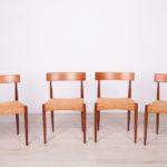 Komplet czterech krzeseł, proj. A. Hovmand-Olsen, Mogens Kold, Dania, lata 60.