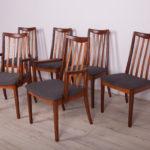 Komplet czterech krzeseł i dwóch foteli, proj. L. Dandy, G-Plan, Wielka Brytania, lata 60.