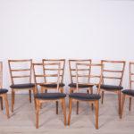 Komplet ośmiu krzeseł, proj. M. Grabiński, Swarzędzka Fabryka Mebli, Polska, lata 60.