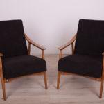 Black Czech Armchairs, 1960s, Set of 2