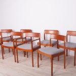 Komplet ośmiu krzeseł, proj. J. Nørgaard, Nørgaards Møbelfabrik, Dania, lata 60.