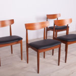Komplet czterech krzeseł, proj. I. Kofod- Larsen, G-Plan, Wielka Brytania, lata 60.