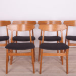 Oak Dining Chairs by H. Kjaernulf for Bruno Hansen, 1960s, Set of 6