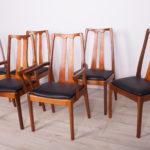 Komplet czterech krzeseł i dwóch foteli, Nathan, Wielka Brytania, lata 60.