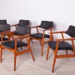 Komplet sześciu krzeseł, proj. Å. Eriksen, Glostrup, Dania, lata 60.