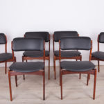 Komplet sześciu krzeseł model 49, proj. E. Buch, Oddense Maskinsnedkeri AS, Dania, lata 60.