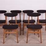 Beech and Fabric 200-190 Dining Chairs by Rajmund Teofil Hałas, 1960s, Set of 6