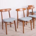 Komplet czterech krzeseł, Polska, lata 60.