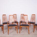 Komplet ośmiu krzeseł Eva, proj. N. Koefoed, Koefoeds Hornslet, Wielka Brytania, lata 60.