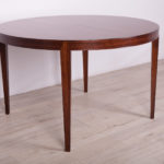 Round Mid Century Rosewood Dining Table by S. Hansen for Haslev Møbelsnedkeri , 1960s