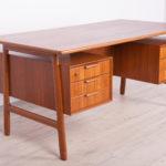 Mid Century Model 75 Freestanding Teak Desk from Omann Jun, 1950s