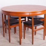 Mid-Century Teak Dining Table & Chairs Set by Hans Olsen for Frem Røjle, 1960s, Set of 5