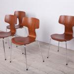 Komplet czterech krzeseł model 3103, proj. A. Jacobsen, Fritz Hansen, Dania, lata 80.