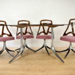 Stół i komplet czterech obrotowych krzeseł, Włochy, lata 60